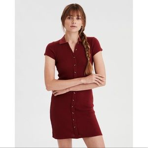 American Eagle Rust Color Knit Polo Dress XS